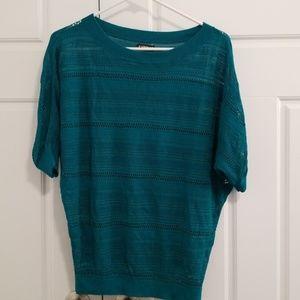 NWOT Express teal short sleeve blouse size Medium
